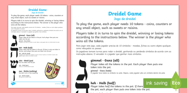 picture about How to Play the Dreidel Game Printable identify Hanukkah Dreidel Match English/Portuguese - Hanukkah Dreidel