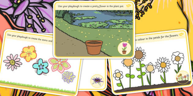 Flower Playdough Mats - flower, fine motor skills, playdough mat
