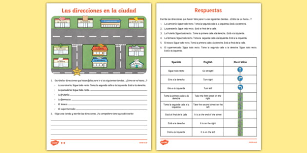 Directions And Shops in Town Differentiated Worksheet / Worksheet Pack