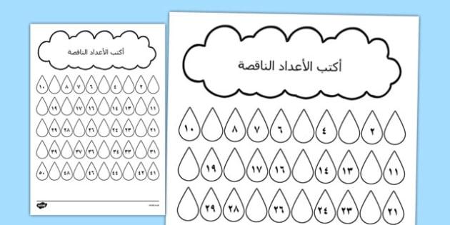 ورقة نشاط قطرات المطر للأرقام المفقودة - وسائل تعليمية، رياضيات , worksheet