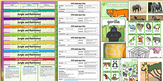 EYFS Jungle and Rainforest Themed Lesson Plan Enhancement Ideas and Resources Pack - planning