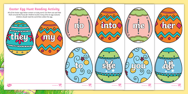 Easter Egg Hunt Phase 2 And 3 Tricky Words Reading Activity