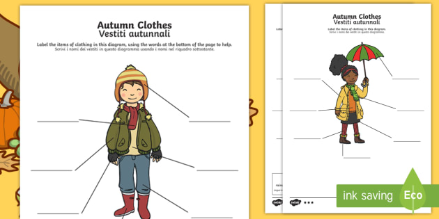 Italian English Animsld: Autumn Clothes Labelling Differentiated Worksheet / Activity