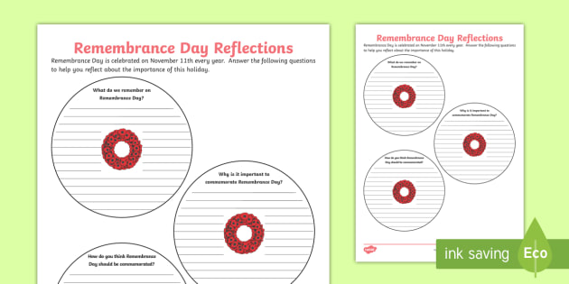 Remembrance Day Reflections Writing Worksheet Activity Sheet
