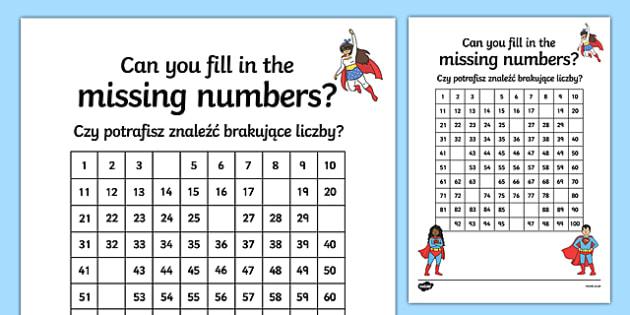 Superhero-Themed Missing Numbers 100 Square Activity Sheet Polish Translation-Polish-translation, worksheet