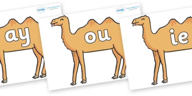 Phase 5 Phonemes on Camels - Phonemes, phoneme, Phase 5, Phase five, Foundation, Literacy, Letters and Sounds, DfES, display