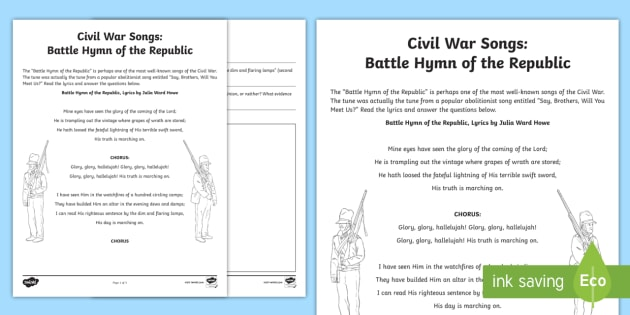 Civil War Song: Battle Hymn of the Republic Activity