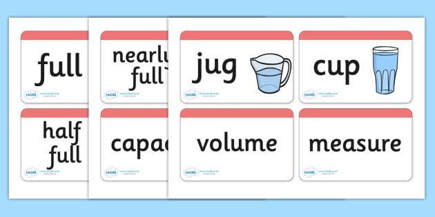 Capacity Word Cards - Word card, cards, capacity, volume, litre, full, empy, half full, measure, jug, cup, water, display, numeracy, measurement, capacity, flash cards