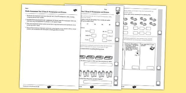 Year 2 Maths Assessment Number Multiplication and Division Term 3 - year 2, maths, assessment, number, multiplication, division, term 3