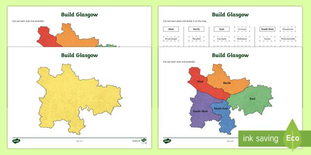 Build Glasgow Map Jigsaw Puzzle-Scottish - Map, Glasgow, Scotland, Scottish, CfE, geography, boundaries,Scottish