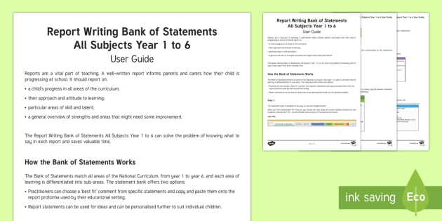 Report writing service bank of statements ks1