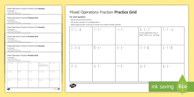 Fractions Practice Grids All Four Operations Differentiated
