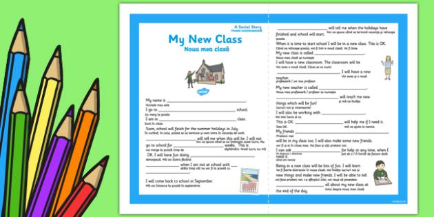 My New Class Social Situation Primary Romanian Translation - new class, social, story, sen, eal, transistion, primary, ks1, ks2