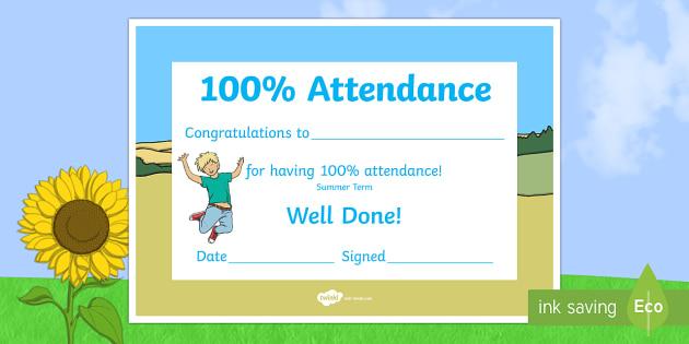 summer term themed 100 attendance certificate