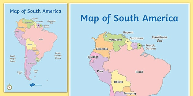 Of South America Map South America Continent Countries - South america french guiana map