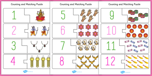 Diwali Counting Puzzle - festival, celebration, count, counting
