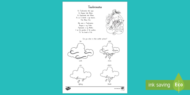 Tawhirimatea and the Weathers Colouring Worksheet / Activity