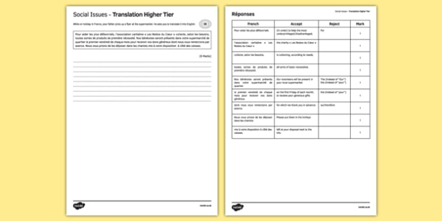 Social Issues Translation Higher Tier Worksheet / Activity Sheet - French, worksheet