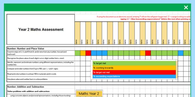 2014 Curriculum Year 2 Maths Assessment Term 1 Spreadsheet - numeracy
