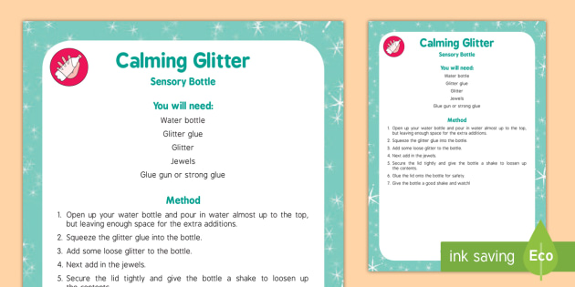 Calming Glitter Sensory Bottle - calming, glitter, sensory bottle, eyfs, early years