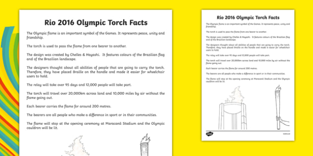 Rio 2016 Olympic Torch Facts - welsh, cymraeg, Olympic Torch Facts, Rio 2016