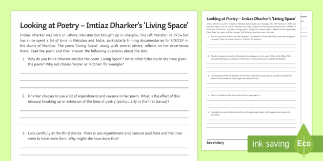Living Space' by Imtiaz Dharker Activity Sheet - revision