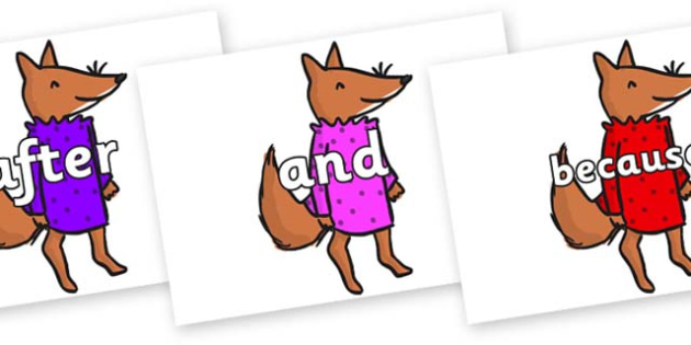 Connectives on Small Fox 3 to Support Teaching on Fantastic Mr Fox - Connectives, VCOP, connective resources, connectives display words, connective displays