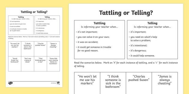 tattling or telling activity sheet social skills tattle. Black Bedroom Furniture Sets. Home Design Ideas