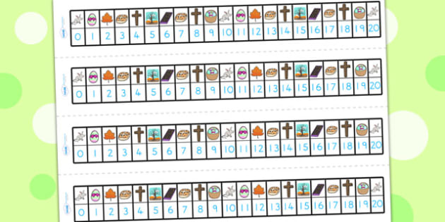 Easter Number Track 1 20 - easter, numeracy, number track, 0-10