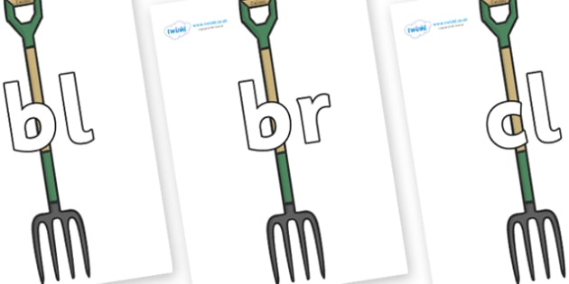 Initial Letter Blends on Garden Forks - Initial Letters, initial letter, letter blend, letter blends, consonant, consonants, digraph, trigraph, literacy, alphabet, letters, foundation stage literacy