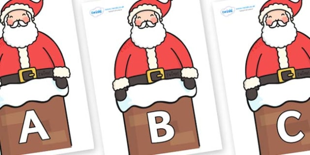 A-Z Alphabet on Santa in Chimney - A-Z, A4, display, Alphabet frieze, Display letters, Letter posters, A-Z letters, Alphabet flashcards