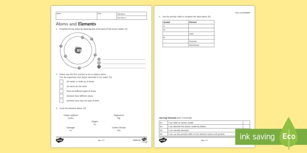 Atoms And Elements Homework Worksheet Activity Sheet