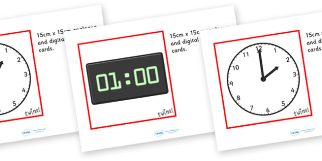 Analogue And Digital Cards (15x15cm) - analogue and digital, cards time, analogue, digital, times, card, flashcard, activity, different, what time is it, hour, minute, second, day, 15x15