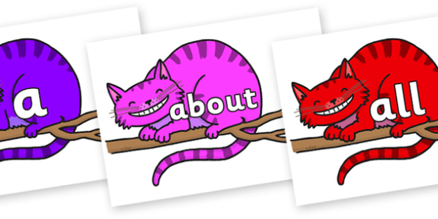 100 High Frequency Words on Cheshire Cats - High frequency words, hfw, DfES Letters and Sounds, Letters and Sounds, display words