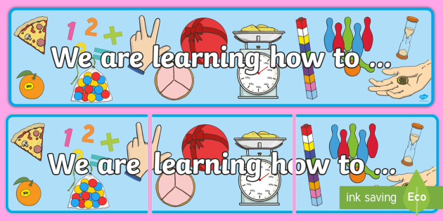 Year 2 Maths Themed We are learning how to Display Banner Pack