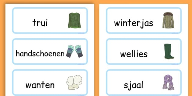 Winter Clothes Word Cards - winter clothes, word cards, winter, clothes - Dutch