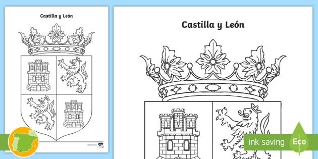 Hoja de colorear: El escudo de Castilla y León - Mapas