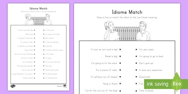 Idioms Matching Worksheet Activity Sheet Nonliteral
