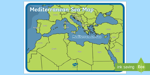The Mediterranean Sea Map - sea, seas, world, globe, earth, countries