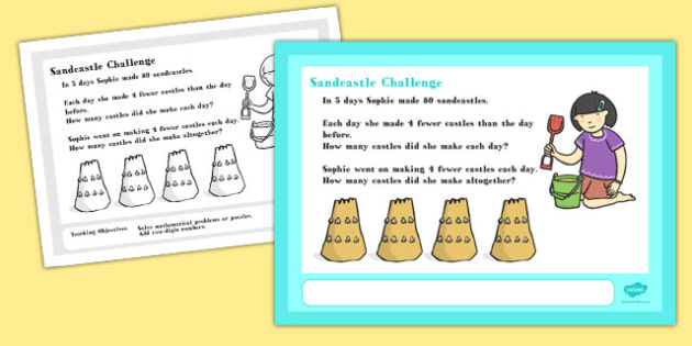 A4 Sandcastle Maths Challenge Poster - posters, displays, display