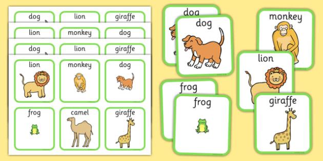 Zoo Animals Matching Cards - zoo animals, matching cards, matching, cards, match, zoo, animals