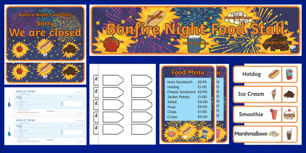 Bonfire Night Food Stall  Role Play Pack