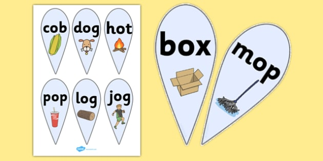 CVC Word Fans (O) - CVC, CVC word, fan, fans, three phoneme words, three sound words, consonant vowel consonant, words, three letter words, letters and sounds, DfES letters and sounds