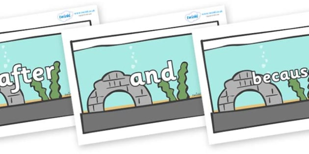Connectives on Fish Tanks - Connectives, VCOP, connective resources, connectives display words, connective displays