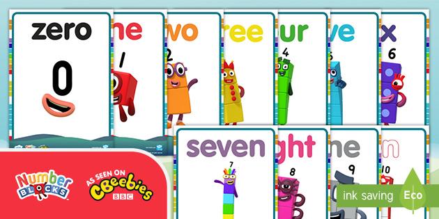 Free Numberblocks 0 10 Words Display Posters Maths Resources