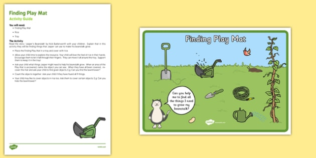 Finding Play Mat Busy Bag Resource Pack for Parents to Support Teaching on Jasper's Beanstalk - beans, growth, growing, plants