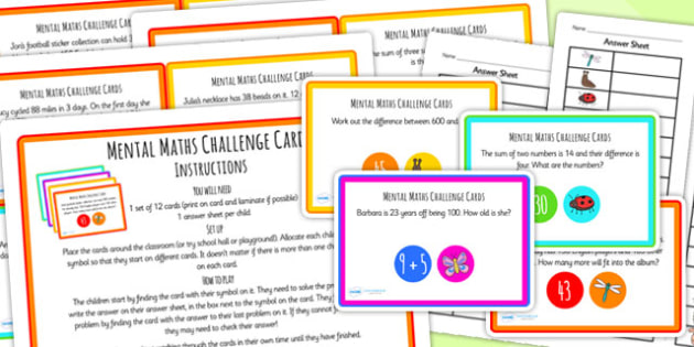Mental Maths Challenge Cards - maths, challenge, challenge cards