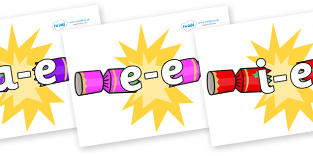 Modifying E Letters on Christmas Crackers (Cracking) - Modifying E, letters, modify, Phase 5, Phase five, alternative spellings for phonemes, DfES letters and Sounds