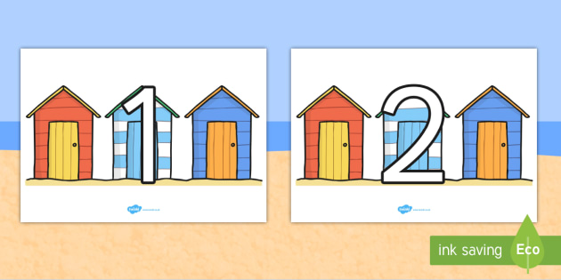 Numbers 0 100 on Beach Huts - count, seaside, holiday, summer