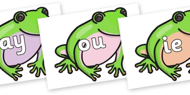 Phase 5 Phonemes on Green Tree Frog - Phonemes, phoneme, Phase 5, Phase five, Foundation, Literacy, Letters and Sounds, DfES, display